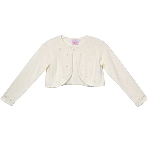 Cinderella Couture Little Girls Ivory Pearl Beaded Soft Hook Closure Sweater 2-6