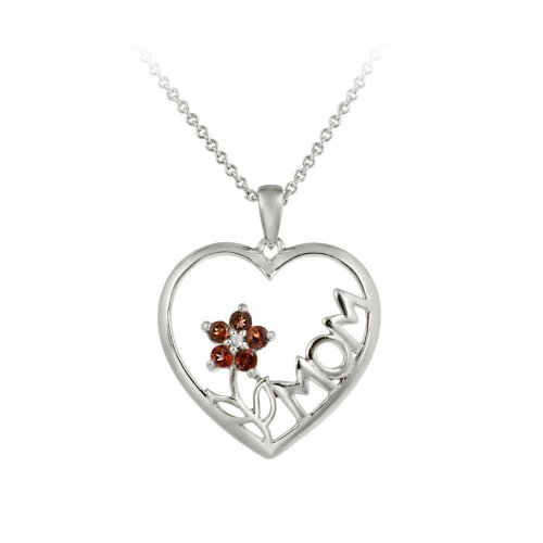Sterling Silver, Diamond-Accent and Garnet MOM with a Flower Heart Pendant Necklace, 18