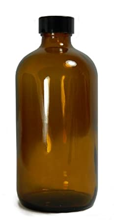 Qorpak Amber Glass Boston Round Bottle with Black Phenolic Polyseal Cone Lined Cap