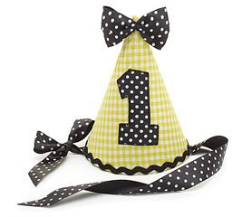 1st Birthday Party Hat #1 Yellow Gingham Black Dot Fabric Ribbon Tie Bumble Bee - 1