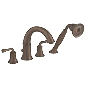 American Standard 7420.901.224 Portsmouth Deck-Mount Tub Filler with Personal Shower with Lever Handles, Oil Rubbed Bronze