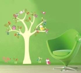 PeelCo Colorful Yellow Tree with Birds Wall Decal Sticker for Decoration - 1