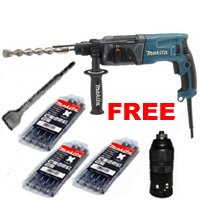 MAKITA HR2470T SDS Plus Rotary Hammer Drill + Quick Change Chuck + 250mm SDS-Plus Scaling Chisel 110v