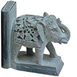 Pair of Handcrafted Soapstone Elephant Bookends