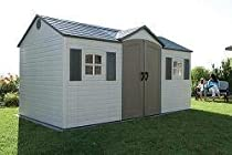 Hot Sale Lifetime 6446 15-by-8 Foot Outdoor Storage Shed with Shutters, Windows, and Skylights