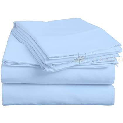 CONGO LINEN PIMA cotton Flat sheet with Duvet set 300 TC Solid ( Twin XL , Sky Blue ) promo code 2015
