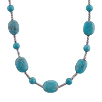 Sterling Silver Blue Turquoise Beaded Necklace - 18