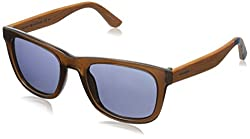 Tommy Hilfiger Mens Th1313s Wayfarer Sunglasses, Brown Wood/Blue Avio, 51 mm