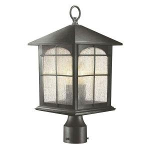 Hampton Bay 3-Light Outdoor Aged Iron Post Lantern photo