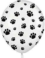 12 White Balloons with Black Paw Prints - Woof! by Qualatex - made in the USA