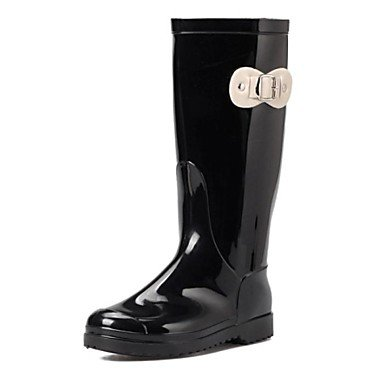 Niederiger Absatz – PVC – FRAUEN – Stiefel-wadenlang – Regenstiefel/Runde Zehe – Stiefel ( Schwarz/Beige/Burgund ) günstig online kaufen