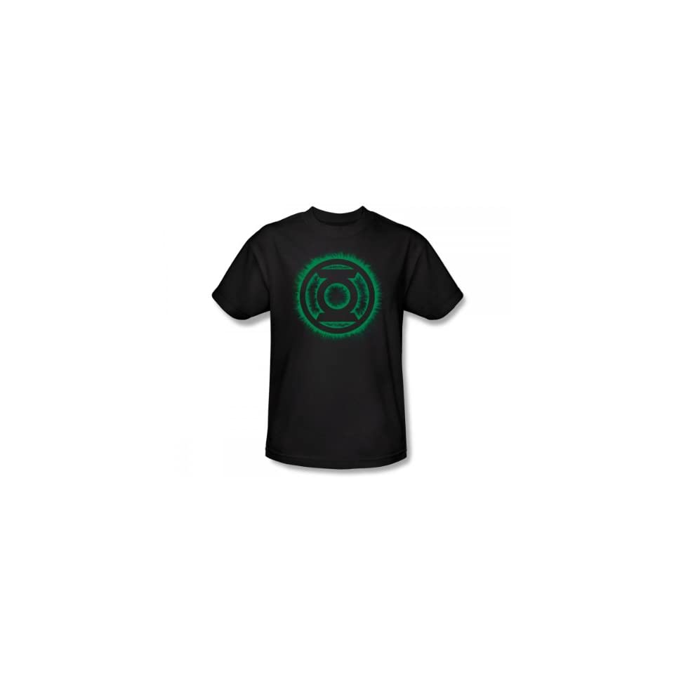c6edde14 Green Lantern Green Flame Logo Slim Fit Adult T Shirt In Black Novelty T  Shirts Clothing