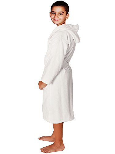 Terry Velour Bathrobe 100% Cotton White Kids Hooded Robe, Girls & Boys, Size: L
