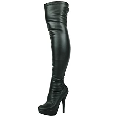 LADIES WOMENS SEXY STILLETO STRETCHY OVER THE KNEE STRETCH WIDE FIT BLACK THIGH HIGH BOOTS SIZE (UK 3, Black)