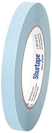 "Pratt Plus CP 632 Shurtape Commercial Premium Heavy Duty Paper Masking Tape, 22 lbs/inch Tensile Strength, 60 yds Length x 1/2"" Width, 3"" Core, Light Blue (Pack of 12)"