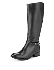 Footglove Leather Buckle & Strap Studded Long Boots and Stretch Zip