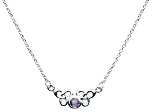 Heritage Celtic Trilogen Round Amethyst Necklet - 9288AM (Adjustable Chain)