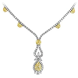 16.01 Ct Round & Marquise Cut Diamond Fashion Necklace 18k Two Tone Gold