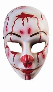 [Bloody Mess Face Mask Creepy Scary Mime Zombie Clown Halloween Costume Accessory] (Scary Mime)