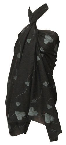 La Leela Black Designer Sweet-heart Chain Stitched Embroidered Beach Sarong Pareo Wrap Valentine's Day Gift