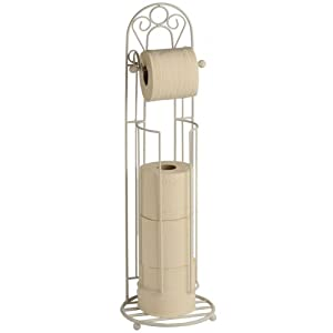 Free Standing Decorative Toilet Roll Holder In Cream