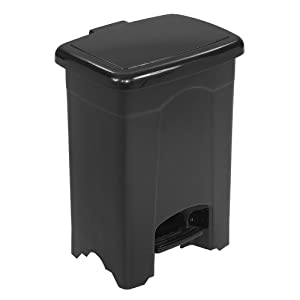 Safco Products Plastic Step-On Waste Receptacle, 4 Gallon, Black, 9710BL