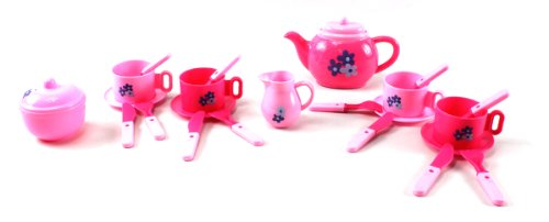 My Favorite Pink Pretend Play Toy Tea Set W/ 4 Cups, 4 Saucers, Tea & Sugar Pots, & Creamer, 4 Knives, Forks, And Spoons