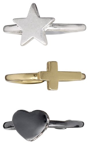 Pilgrim Jewelry Damen-Ring Messing Pilgrim Damen-Ring aus der Serie Faith hematite beschichtet  + metallmix,weiß  1.0 cm 141337004