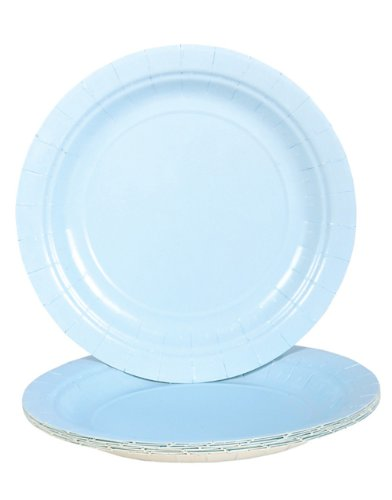 Light Blue Paper Plates (Bulk Pack of 25 Plates)