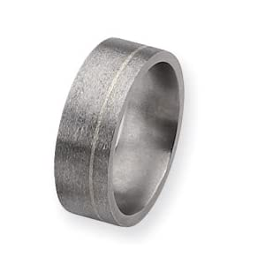 Titanium and Sterling Inlays Satin 8mm Band Ring