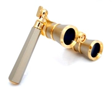 Finissimo Optics 3X25 Titanium Finish Opera Glasses With Extendable Handle / Theater Binoculars / With Gold Trim