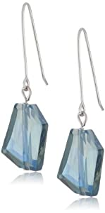 "Kenneth Cole New York ""Color Boost"" Geometric Faceted Bead Long Drop Earrings- Blue"