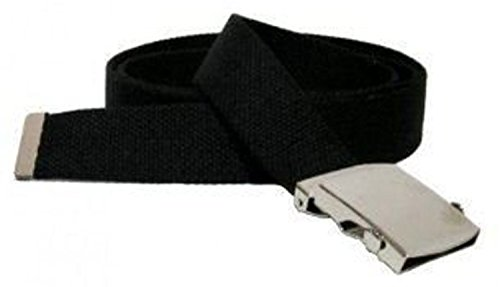 Black One Size Canvas Military Web Belt With Silver Slider Buckle