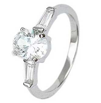 Sterling Silver Engagement Ring With Oval Cut Cubic Zirconia in 4 Prong Setting and 2 Side stones