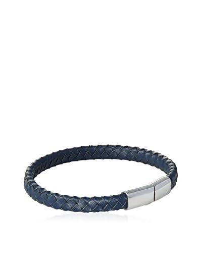 Blackjack Genuine Blue Leather Stainless Steel Bracelet