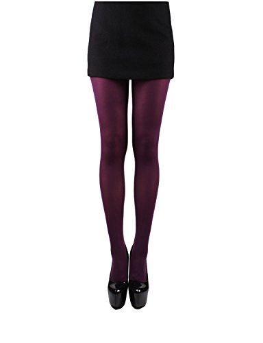 HELIOS CO. Women's 80 Denier Silky Slimming Compression Footed Pantyhose Tights PURPLE,O