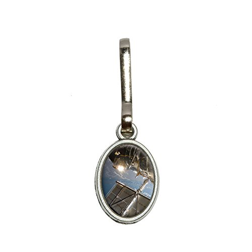 Hubble Telescope - Astronomy Space Antiqued Oval Charm Clothes Purse Luggage Backpack Zipper Pull