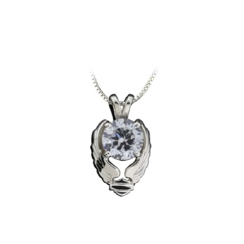 Harley-Davidson® Stamper® Women's Sterling Silver White Clear Color Stone Necklace. 18-Inches. PN7493CZ