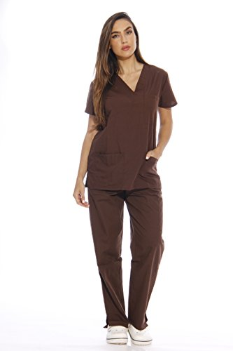 22256V-L Chocolate Just Love Women's Scrub Sets / Medical Scrubs / Nursing Sc...