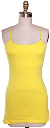 Active Basic Long Camisole with Cotton Built in Self Bra Adjustable Straps,Small,Yellow