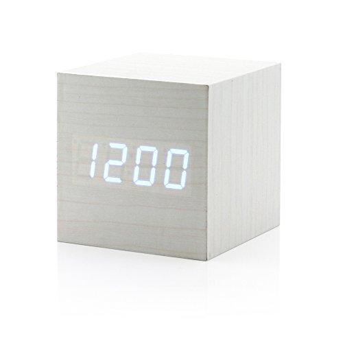 GEARONIC TM Ultra Modern Wooden LED Digital Alarm Cube Clock Thermometer Timer Calendar - White