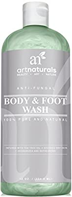 Art Naturals Antifungal Soap with Tea Tree Oil - 100% Natural Best Foot and Body Wash 12 Oz, Helps with Nail Fungus, Athletes Foot, Ringworm, Jock Itch & Body Odor - Kills Bacteria & Relieves Itching