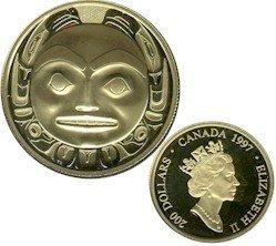 1997 $200 Gold Haida Mask Coin Raven Bringing Light to the World