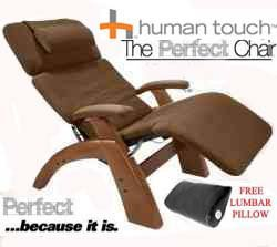 The Human Touch Power Electric Perfect Chair Recliner - PC95 / PC-095 Walnut Recline Wood Base Cashew MicroSuede Pads - Interactive Health Zero Anti Gravity Chair