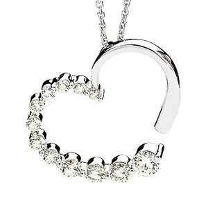14K White Gold 7/8 ct tw Journey Diamond Heart Pendant