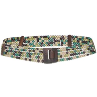Womens Multi-Row Beaded Band / Elastic Waist Belt with Wooden Buckle Multicolor
