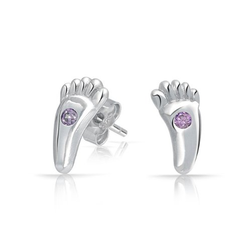 Bling Jewelry Amethyst Color CZ Footprints Childrens Stud Earrings 925 Silver