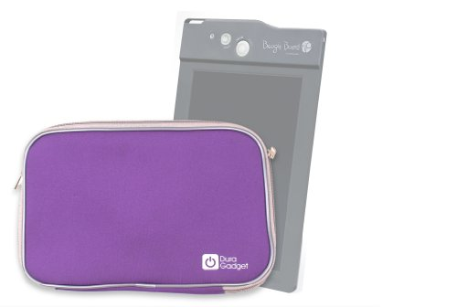 """Duragadget """"Travel"""" Purple Weather Resistant Soft Neoprene Sleeve Case Cover With Dual Zips For Boogie Board Lcd Writing Tablet Pc, Boogie Board Rip Writing Tablet & Improv Electronics Boogie Board Jot 8.5 Lcd Ewriter"""