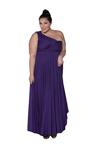 Sealed With A Kiss Designs Plus Size Eternity Convertible Maxi Dress (Regal) - Size 5X, Eggplant