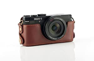CamerAcc Genuine Leather Camera Dock for Pentax MX1 - Coffee